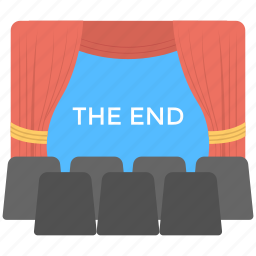 cinema movie, play end, theatre art, theatre movie the end, theatre stage icon