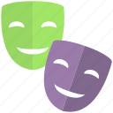 comedy tragedy masks, disguise, drama masks, masks, theatre masks icon