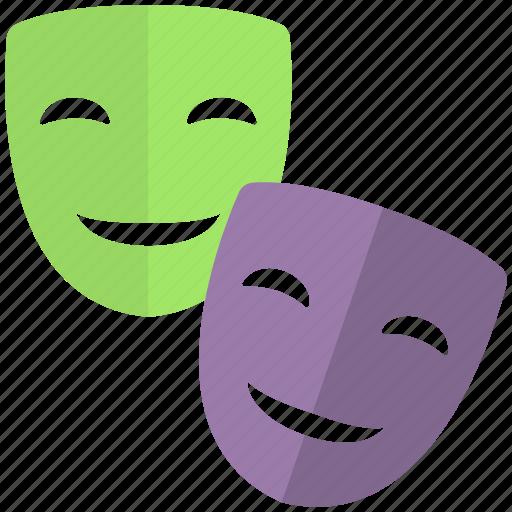 comedy tragedy masks, disguise, drama masks, masks, theatre masks icon