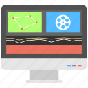 film editing, film production, graphic settings, movie edition, video editing icon