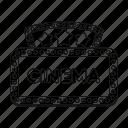 banner, cinema, film, movie, sign, signboard