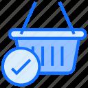 basket, shopping, ecommerce, shop, tick
