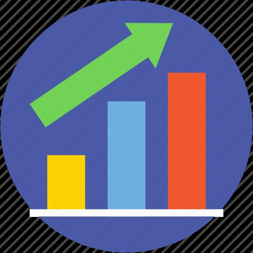 bar graph, business chart, growth chart, infographics, progress chart icon