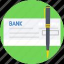 cheque, pencil, receipt, signing, voucher