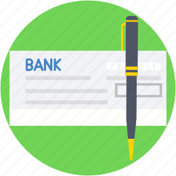 cheque, pencil, receipt, signing, voucher icon