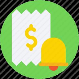 bell, dollar, receipt, receipt paper, voucher icon