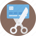 banking, card expired, credit card, cutting card, cutting credit card icon