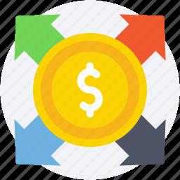 devaluation, dollar arrows, dollar valuation, finance, valuation arrow icon