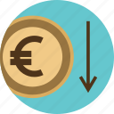 arrow, business, dollar, down, euro, investment, low, money, online, sign icon
