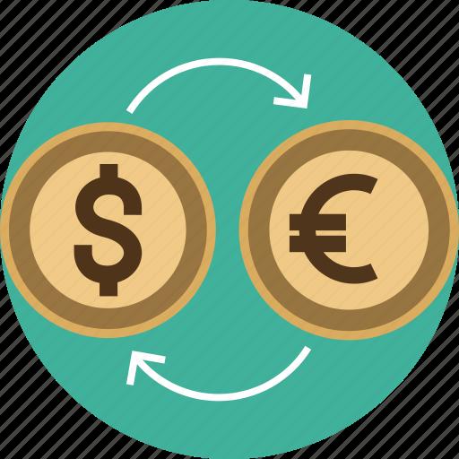 arrow, capital, cash, conversion, converter, currency, dollar, euro, exchange, finance, transfer icon
