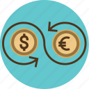 arrow, capital, cash, conversion, converter, currency, dollar, euro, exchange, finance, transfer icon