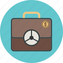 business, currency, dollar, finance, insurance, job, money, portfolio, protection, safe, save, suitcase, target, guardar icon