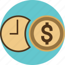business, clock, coin, dollar, finance, financial, management, money, time, value icon