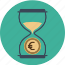 business, clock, coin, dollar, euro, finance, financial, hourglass, management, money, time, value icon