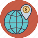business, dollar, earth, finance, globe, location, map, money, office, transaction, world icon