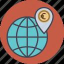 business, dollar, earth, euro, finance, globe, location, map, money, office, transaction, world icon