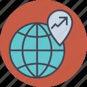 arrow, business, dollar, earth, euro, finance, globe, location, map, money, office, transaction, world icon