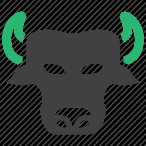 banking, bull, finance, market icon