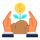 capital, finance, growth, investment, plant icon