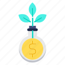 business, funds, growth, invrstments, marketing, plant icon