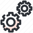 cogs, configuration, gears, machine, settings, system icon