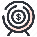 aim, dartboard, financial target, objective, target icon