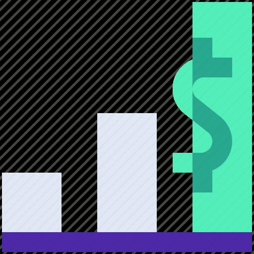 diagram, dollar, finance, graph, growth icon