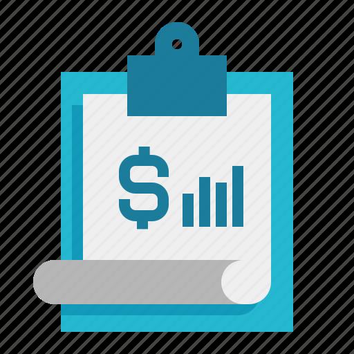 clipboard, finance, money, report icon