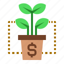 business, dollar, finance, grow, interest, invest, plant icon