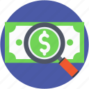 find money, paper money, paper note, search money, searching icon