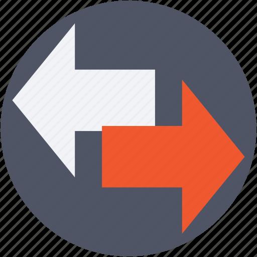 arrows, data transfer, direction arrows, exchange arrows, pointing arrows icon