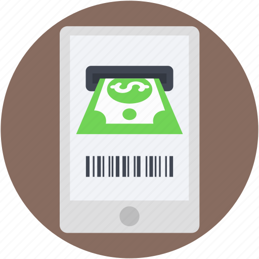 m commerce, mobile, online transaction, online withdrawal, online working icon