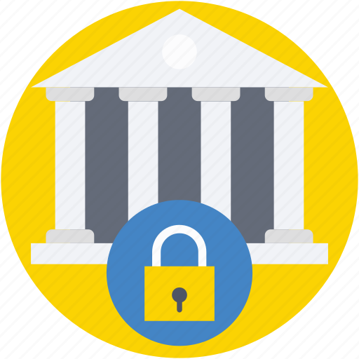 bank, bank building, lock, privacy, secure bank icon