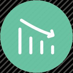business chart, chart, decreasing chart, loss, loss graph icon