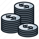 cash, coin, gold, money, silver, stack icon