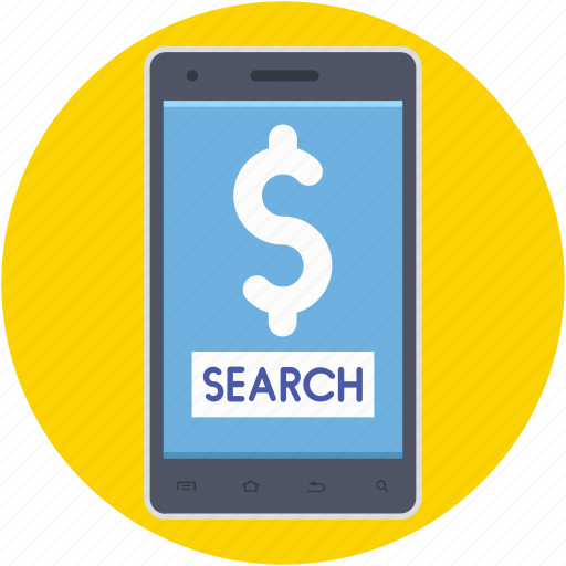 dollar search, financial, mobile searching, online payment, online search icon