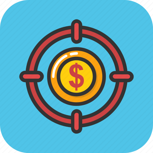 business achievement, business goal, dollar crosshair, financial target, funds hunting icon