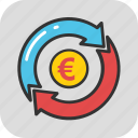 business growth, currency arrows, debt fund, euro exchange, money marketing icon