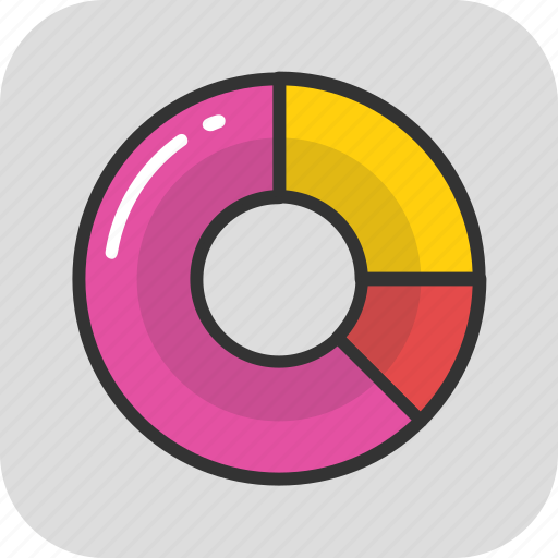 analytics, donut chart, pie chart, pie graph, stats icon