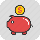 cash, dollar, money, piggy bank, savings icon