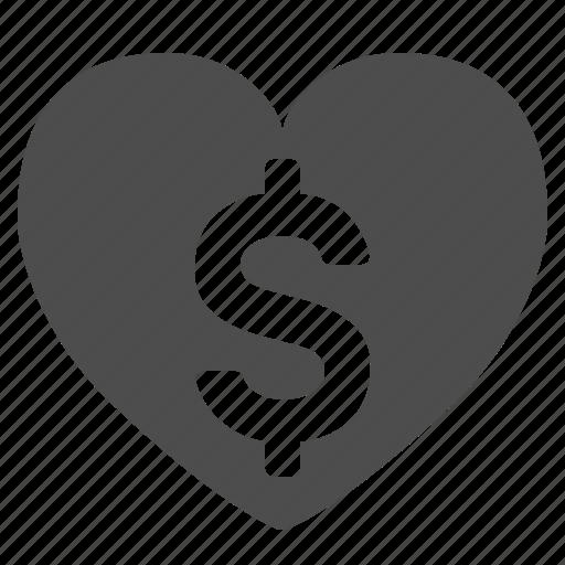 Dollar, finance, heart, love, money, sign, wealth icon - Download on Iconfinder