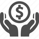 coin, dollar, hands, loan, money icon