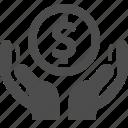 coin, dollar, hands, loan, money