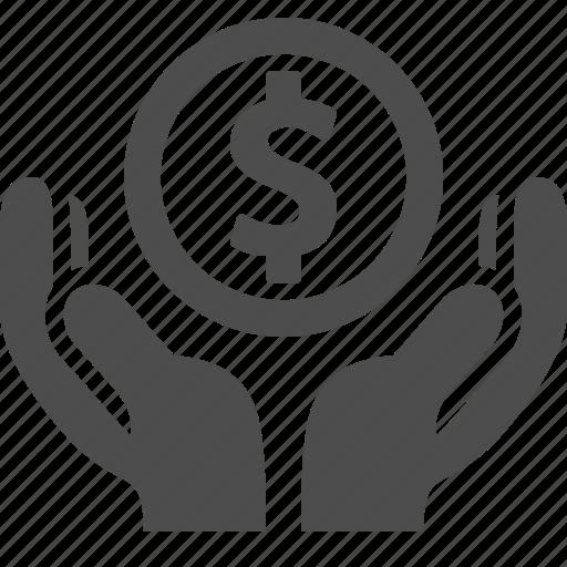 coin, dollar, hands, loan, money icon