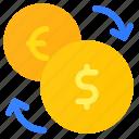 curency, dollar, euro, exchange, finance, money icon