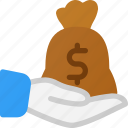 care, money, bag, hand, financial, hold icon