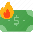burn, finance, fire, inflation, money, value icon