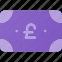 bill, cash, money, pound icon