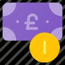 bill, cash, change, coin, money, pound icon