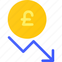 capital, decrease, finance, forex, invest, pound, value icon